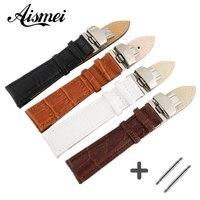 Новое поступление, дизайнерский прочный браслет из натуральной кожи 12,16,18,20,22,24 мм, раскладной ремешок для часов, черный, кофейный, белый