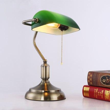 Бесплатная доставка антикварная Винтажная настольная лампа с зеленым