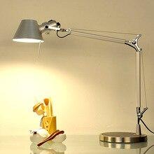 Длинная Настольная лампа с поворотным кронштейном, светодиодная настольная лампа для офиса, светодиодная лампа для чтения, домашняя лампочка, светодиодная настольная лампа с зажимом