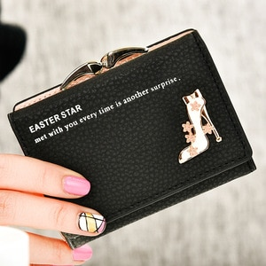 2018 New brand short women's wallet high quality guarantee designer's high-heeled shoes hasp purse for lady free shipping