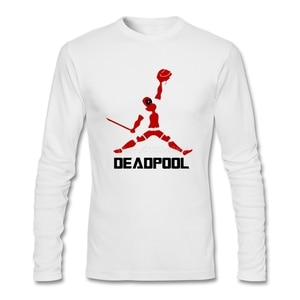 Popular Deadpool T Shirt Geek Clothes Cotton Crewneck Long Sleeve  Tees Shirts Homme