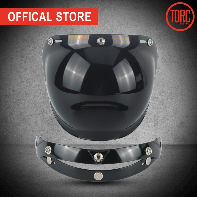 TORC helmet bubbles visor vintage retro open face helmet motorcycle helmet bubble visor lens glasses for helmets PC LENS vcoros straight 3 snap bubble shield motorcycle helmet visor retro scooter lens with flip up vintage helmet