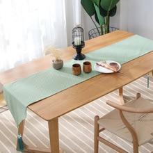 Einfache baumwolle leinen grün tisch läufer licht weiß dots gedruckt bett runner tischdecke vintage tischdecke matte schrank abdeckung