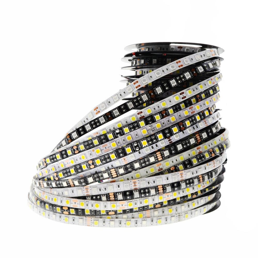 5050 LED RGB Tira RGBWW SMD Chip Luz DC 12 V Decoração Iluminação 60 Leds/M 300LED Fita 5 m/roll