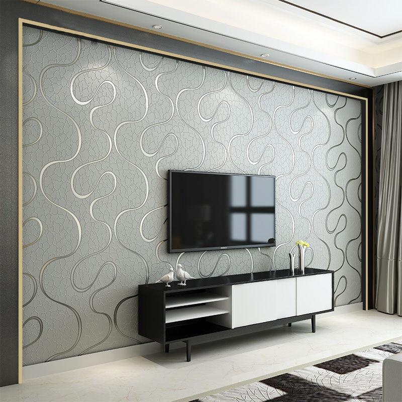 Moderno 3D estereoscópico sala de estar dormitorio FONDO DE TV papel tapiz raya curva no tejido transpirable insonorizado rollos de papel de pared