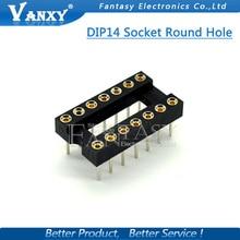 10pcs DIP-14 Round Hole 14 Pins 2.54MM DIP DIP14 IC Sockets 14 PIN 2.54 Adaptor Solder Type IC Connector