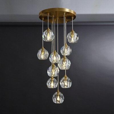 Luminaria de teto hanglamp, lámpara nórdica de cobre con diamantes de cristal,...