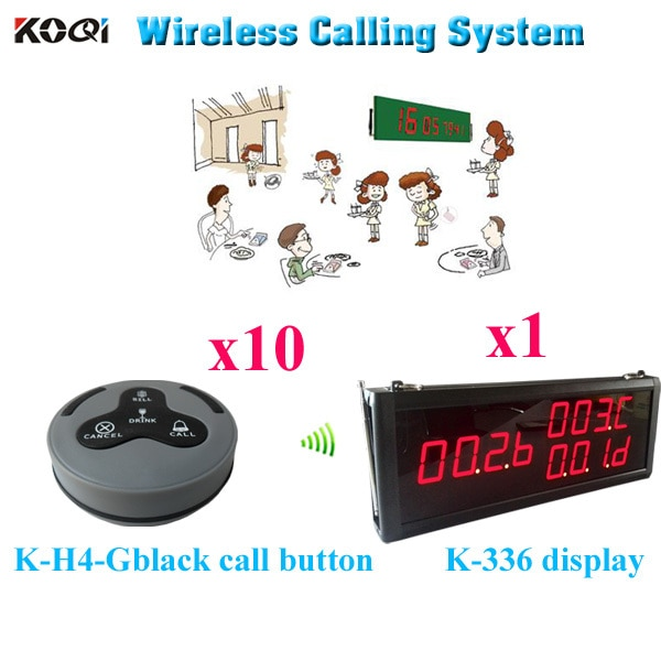 Table Buzzer Call System For Restaurant Electronic Pager Suit In 12v Restaurant Wireless Buzzer( 1 display 10 call button)
