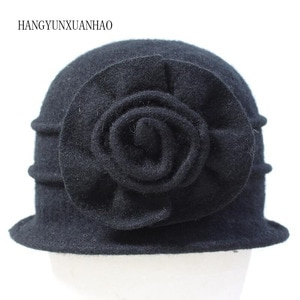 Women Dome Wool Fedora Middle Aged Ladies Wool Hat Mom Hats In Autumn Winter Hat Solid Floral Warm Cap Free Shipping