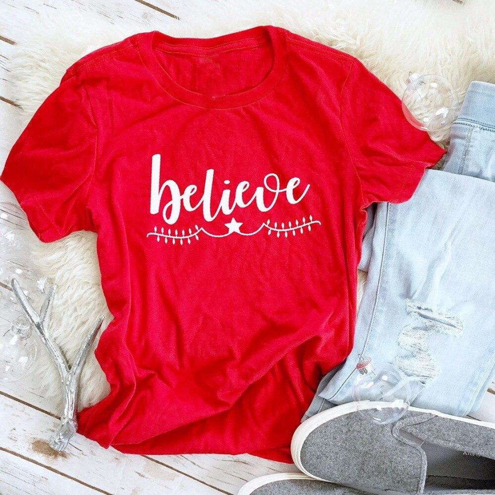 Believe-camisetas con eslogan para mujer, ropa de calle estilo grunge, tumblr, estética,...