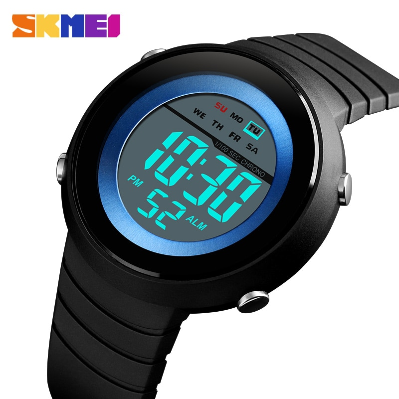 SKMEI модные спортивные часы, мужские цифровые часы, дисплей недели, будильник, 5Bar водонепроницаемые часы, мужские цифровые часы 1497