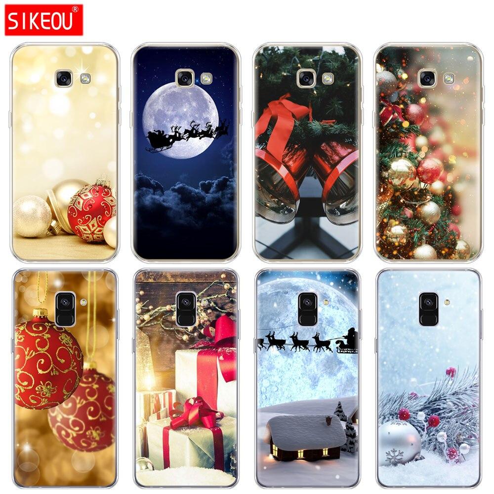 Funda de silicona para teléfono Samsung Galaxy A6 A8 2018 A3 A310 A5 A510 A7 2016 2017 funda Año Nuevo Feliz Navidad