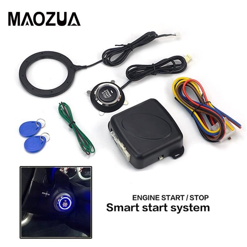 Alarma de coche de 12V, botón de arranque único, botón de arranque de motor, bloqueo RFID, interruptor de encendido, sistema antirrobo de entrada sin llave