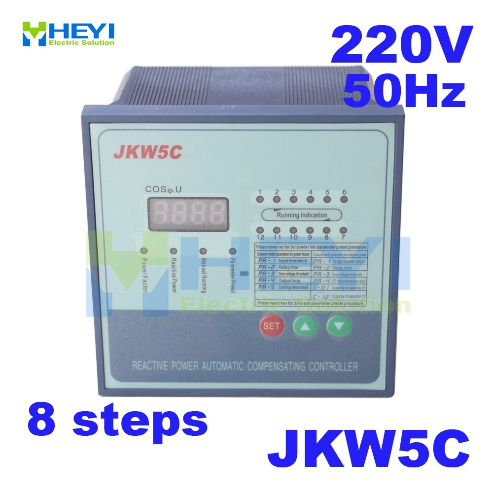 JKW5C / JKL2C power factor correction equipment 220v 50hz 8steps Reactive power automatic compensation controller