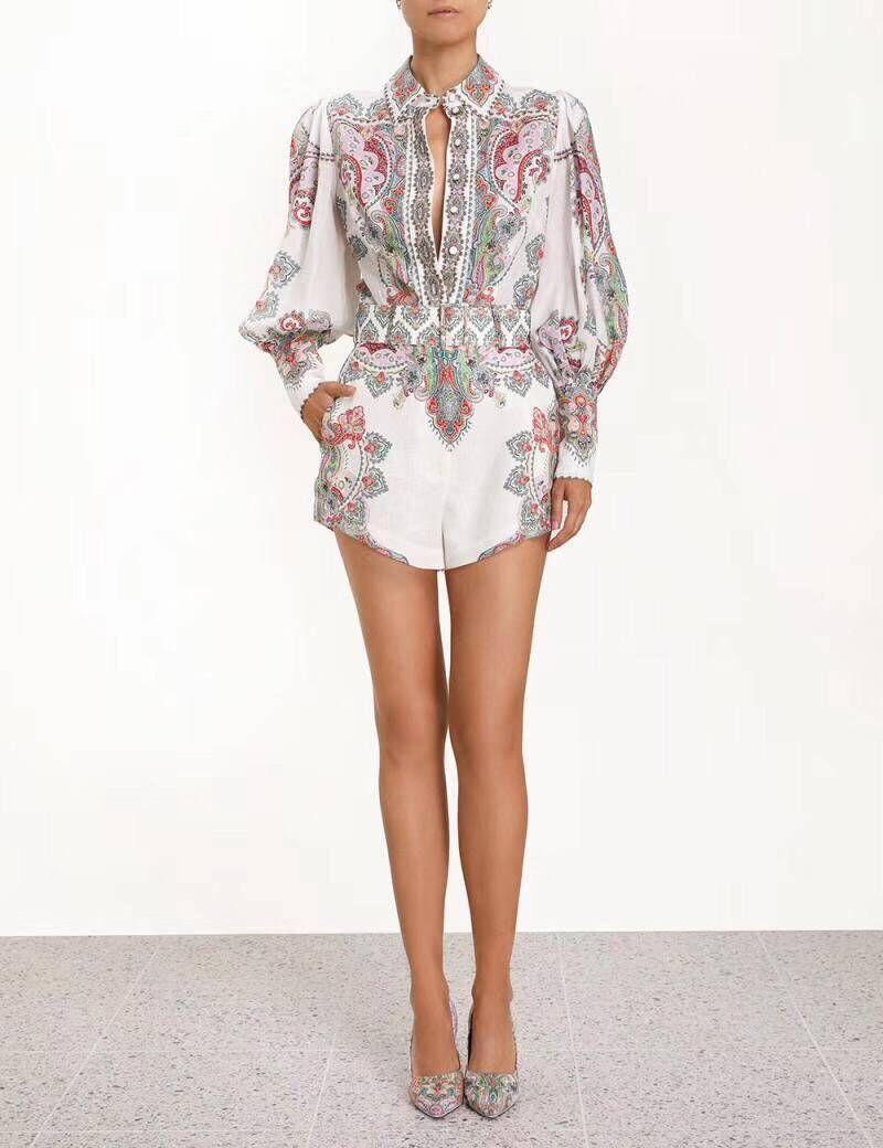 19 verano Zim Gypsy Girl Boho Wind Exceed hermosa flor color barroca Chaqueta de algodón + Pantalones cortos traje