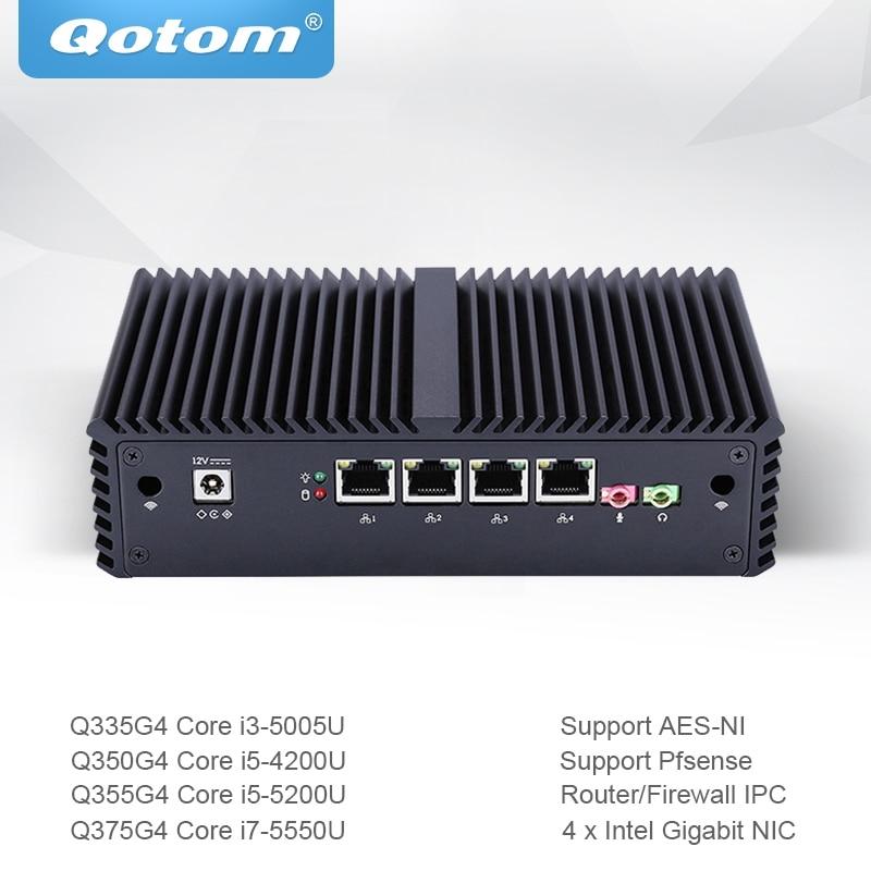 Qotom Mini PC Core i3 i5 i7 avec 4 Gigabit Ethernet NIC AES-NI pare-feu routeur Micro ordinateur industriel Q300G4