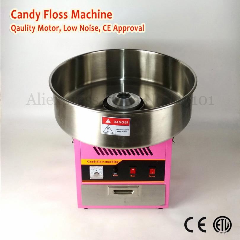 Máquina de dulces de algodón eléctrico máquina comercial de hilo dental 52 cm tazón de acero inoxidable Color rosa 220 V 1030 W con cajón