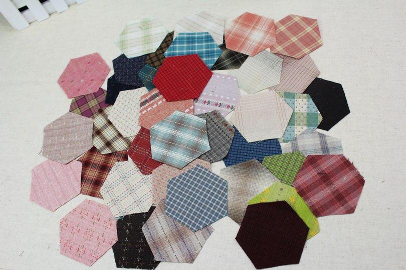 Avó hexágono jardim tecido dyed 3.8cm, artesanal, colchas de patchwork, 100 algodão, listras de campo