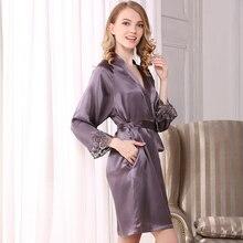 여성 실크 가운과 가운 세트 레이스 인쇄 homewear 섹시한 브랜드 여자 나이트 sleepwears 수면 & 라운지 블랙 여름 여성 nightwears