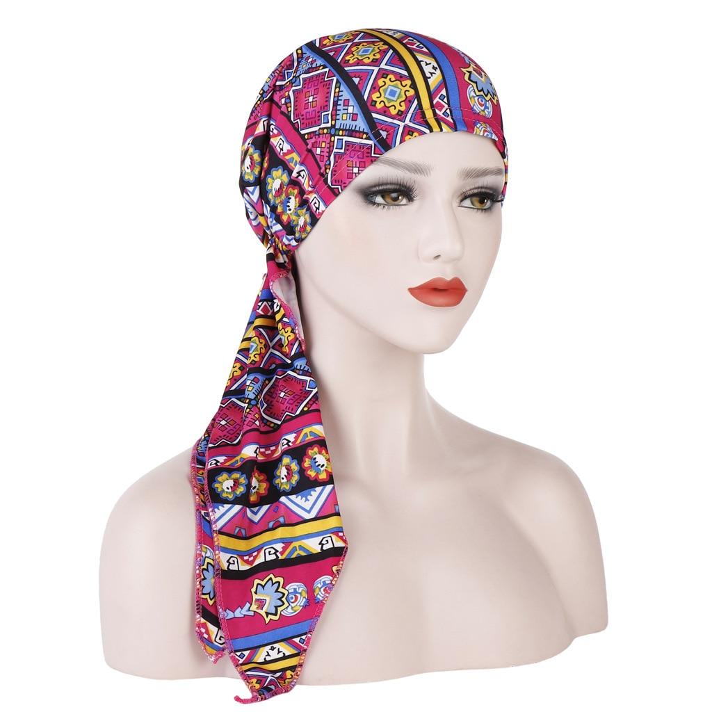 LARRIVED 2019 New Women Chemo Cap Turban Long Hair Band Scarf Head Wraps Hat Boho Pre-Tied Bandana Hair Accessories for Women