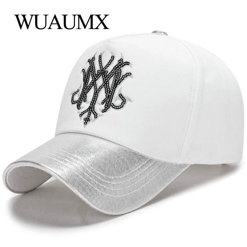 Женская бейсбольная кепка Wuaumx, розовая Кепка в стиле хип-хоп с блестками, Прямая поставка, 2019