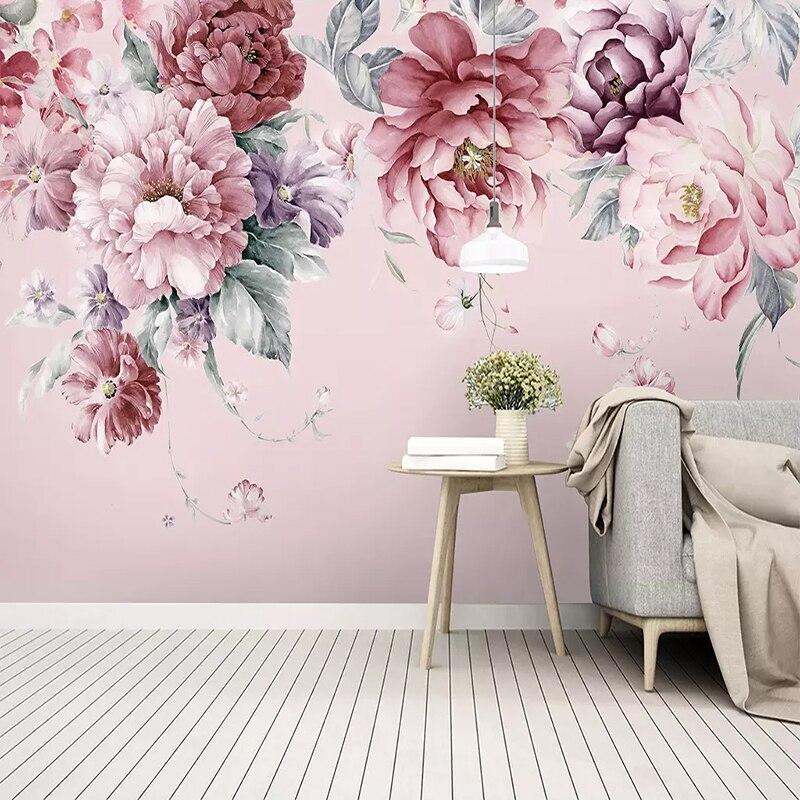 На заказ любой размер Настенные обои современные пасторальные цветы ручная роспись фото обои Гостиная Свадебный дом Papel де Parede