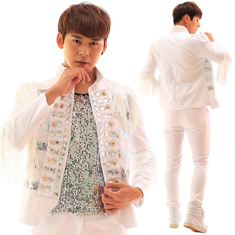 Male costumes Fashion Tassel Diamond Paillette White Slim Suit Jacket  Party show singer dancer stage performance coat outwear