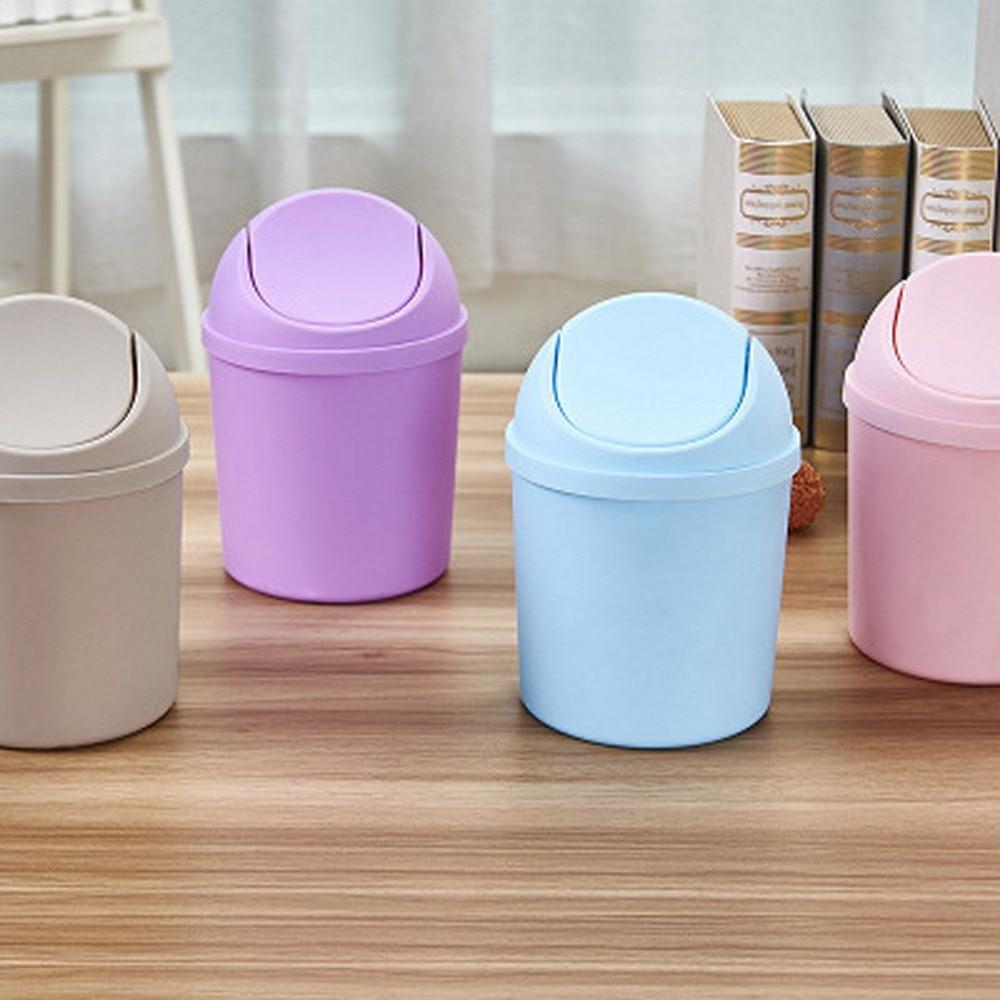 Настольная мини-корзина для мусора со встряхивающим верхом, ведро для хранения, пластиковая крышка может быть снята с крышки, Бытовая Чиста...