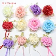 Ruban fleur Rose en soie pour poignet 20 pièces/lot   Bracelet décoratif à la main, pour demoiselle dhonneur, rideau, Bouquet de clips