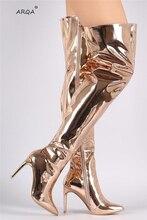 Women Boots Fashion Platform punk high thin heels Ankle boots Plus Size33-48 Autumn Winter Zip Silver Casual Party shoe