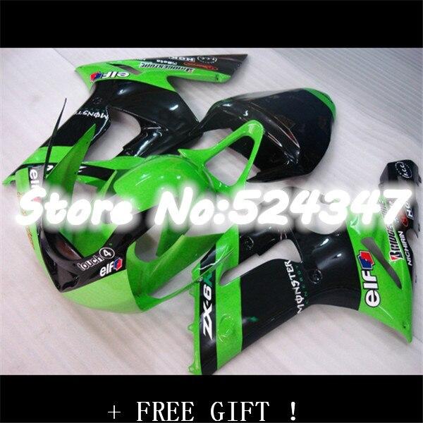 Nn-ZX6R carenado para KAWASAKI ZX 6R 636, 2003 DE 2004 NINJA ZX 6R 03 04 NINJA ZX-6R 03-04 ZX6R 03 04 kits de carenado verde negro ABS