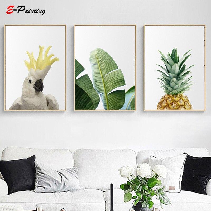Modern Wall Painting Tropical Wall Art Prints Banana Leaf Canvas Print Botanical Pineapple Bird Living Room Home Decor