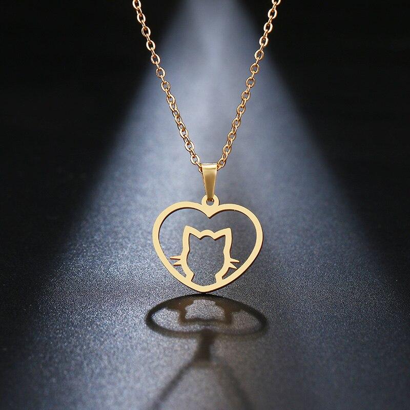 Collar de acero inoxidable DOTIFI para amantes de las mujeres, collar con colgante de gato bonito de Color dorado, joyería