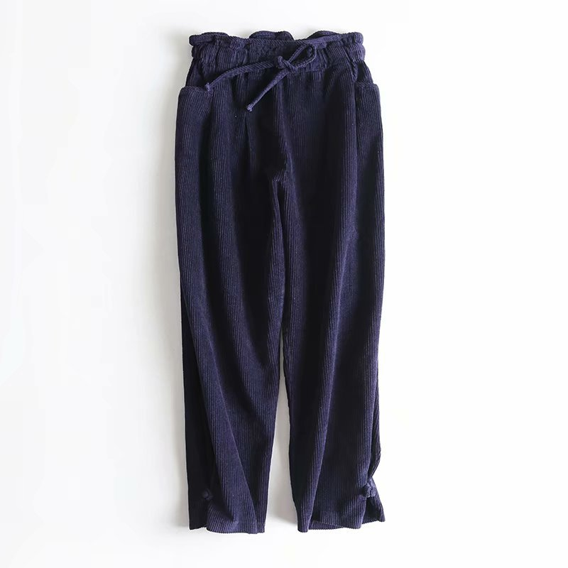 Pantalones de pana para mujer de otoño e invierno, pantalones Harem casuales de color sólido, pantalones casuales de cintura alta para mujer
