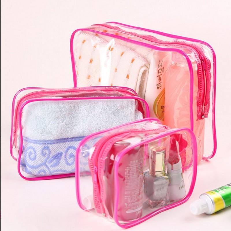 Yesello 3 unids/set de bolsas de maquillaje transparentes, bolsas de cosméticos de PVC, impermeable, organizador de viaje, neceser, bolsa de aseo para mujeres y niñas