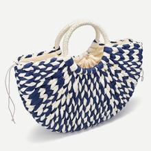 2019 nouvelles femmes seau rond demi-cercle paille sac à la main net couleur tissé panier rotin sac à main