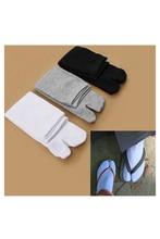 LBFS chaude 3 paires japonais Kimono tongs sandale bout fendu Tabi Ninja Geta Zori chaussettes blanc + noir + gris