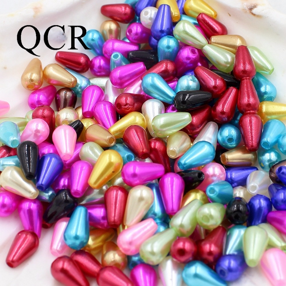 6*10mm 300Pcs/Lot Multi-Colors ABS Double Hole Tear Drop Beads Imitation Pearls Beads For Jewelry Making Indian Beads