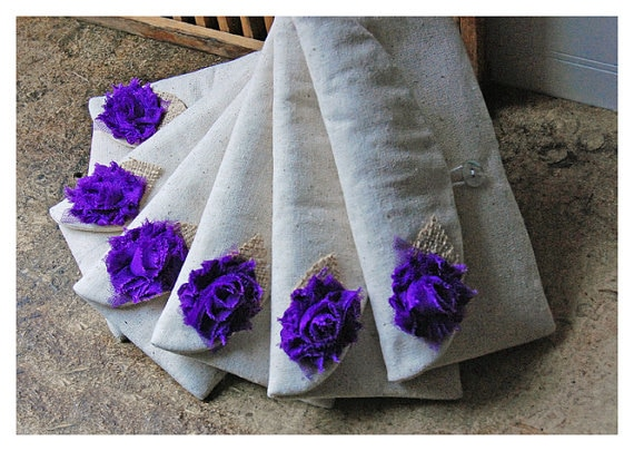 purple or royal blue or lanvender burlap lace wedding shabby chic Bridal clutch Purses makeup toiletry kits Gift Make Up Bags
