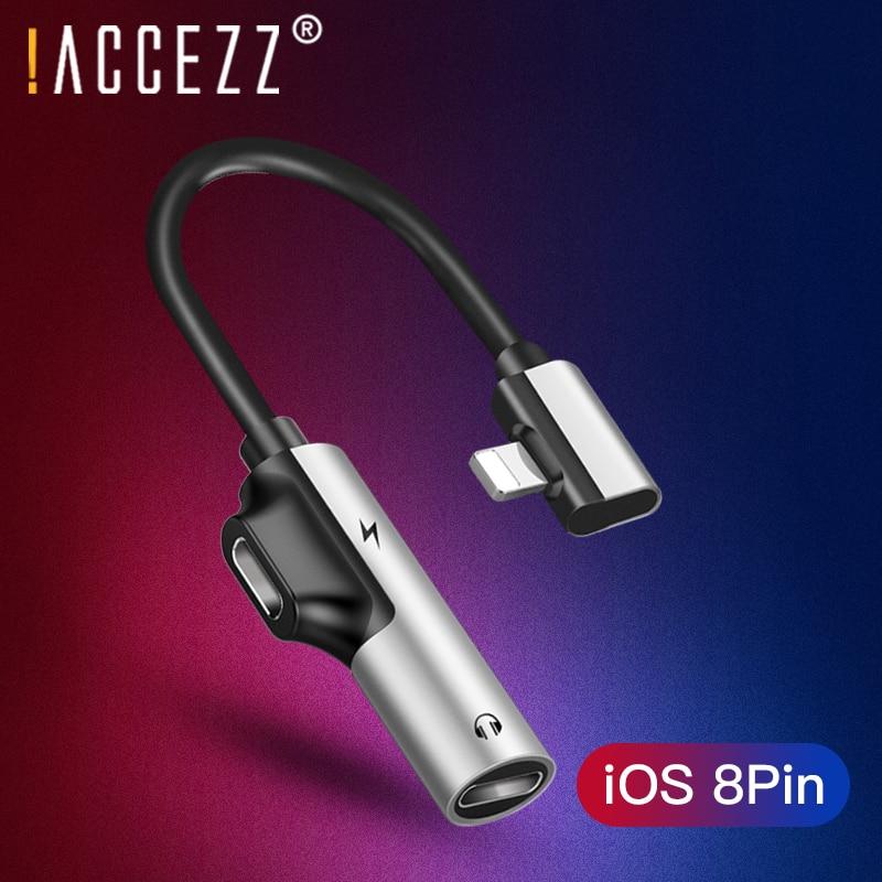 ¡! Cargador de iluminación Dual portátil ACCEZZ 2 en 1 y adaptador de auriculares X 8 para iphone 7 Plus, Cables de Audio divisor auxiliar para auriculares