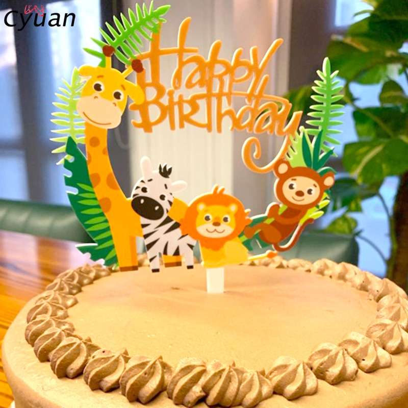 Lion Tiger Zebra Animal Cake Toppers Toddler Jungle Party Decor Paper Plate Cup Banner Baby Safari Birthday Decoration
