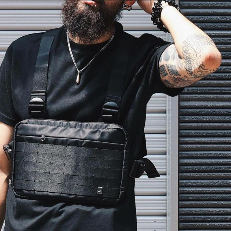 Alyx saco de equipamento de peito streetwear cintura saco preto hip hop fanny pacote masculino ajustável tático streetwear peito sacos kanye cintura packs