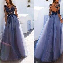 Nouveauté robe de soirée en dentelle robe de soirée formelle vestido noiva sereia manches longues une ligne robe de soirée de bal illusion