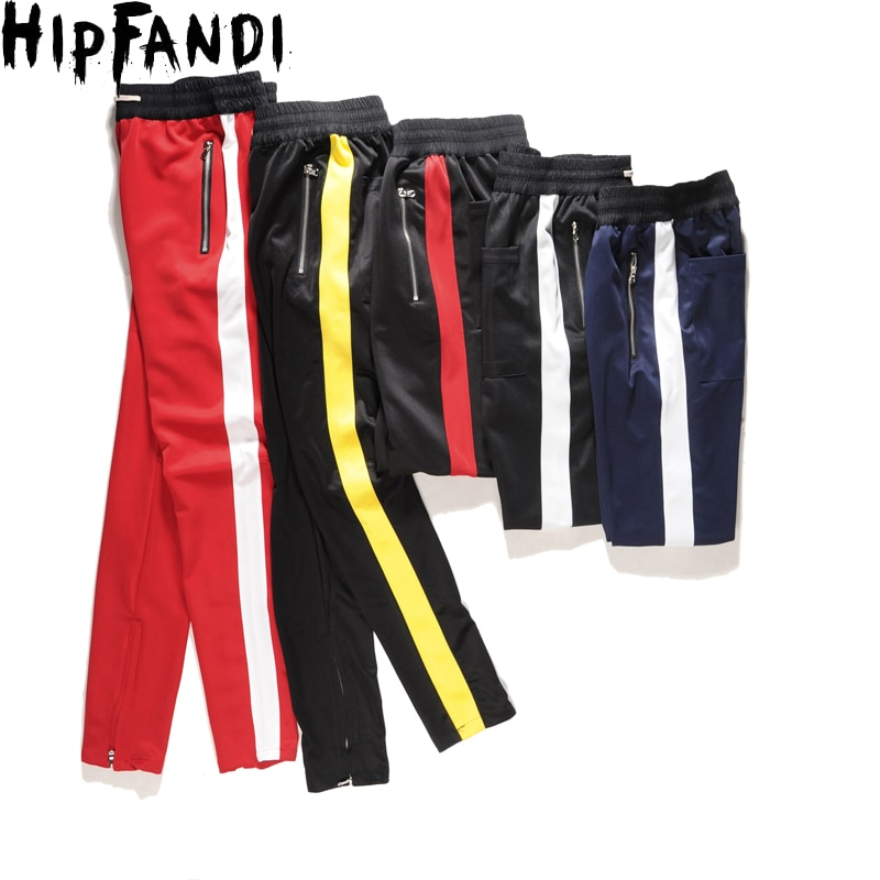 Side Patchwork Side Zipper Streetwear Jersey Men's Pants 2018 Spring New Fashion Kanye West Pants Full Length Men Pencil Pants