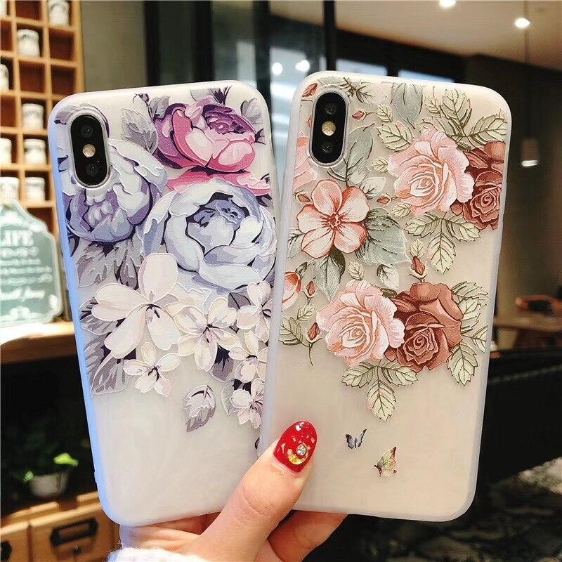 3D Flower Soft Case Matte Case Para Samsung S8/S9/S10 Plus S10E A30 A50 A70 S7/S6 Nota Borda 5 8 9 A20 A40 M10 M20 M30TPU Capa