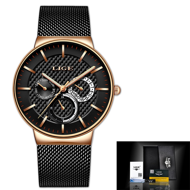 LIGE New Women Fashion Watch Creative Lady Casual Watches Stainless Steel Mesh Band Stylish Desgin Luxury Quartz Watch for Women enlarge