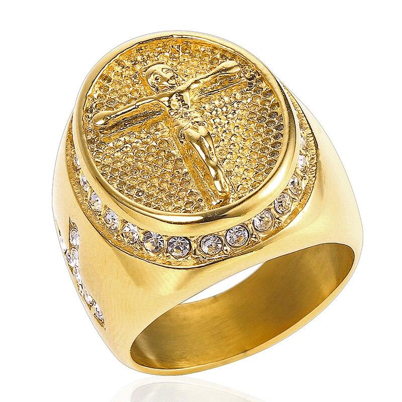 Anillo con circón de Jesús de color dorado y plateado para hombre, anillos de acero inoxidable 316L estilo Hip Hop