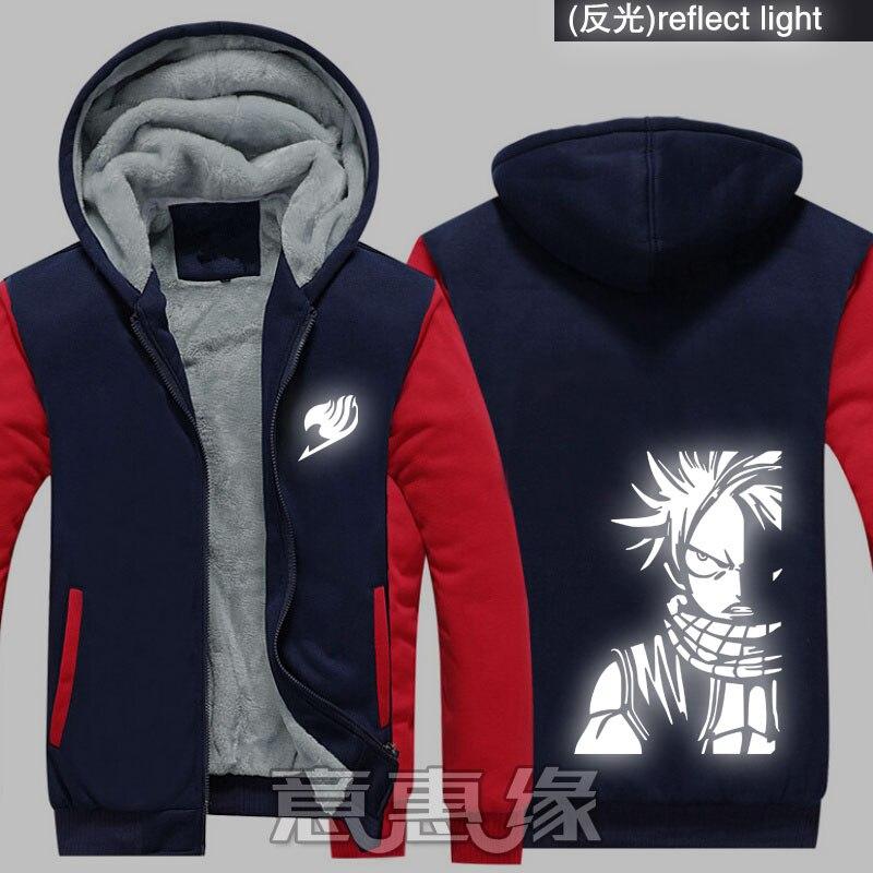 Nuevas chaquetas y abrigos de invierno sudadera de Fairy Tail Anime Natsu reflect light con capucha Cremallera gruesa sudaderas para hombres