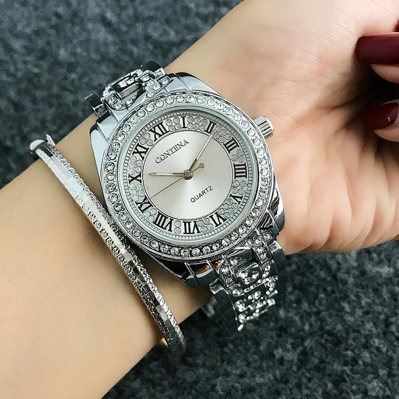 Reloj mujer contena moda algarismos romanos relógio feminino relógios de diamante senhoras relógio de ouro rosa saat montre