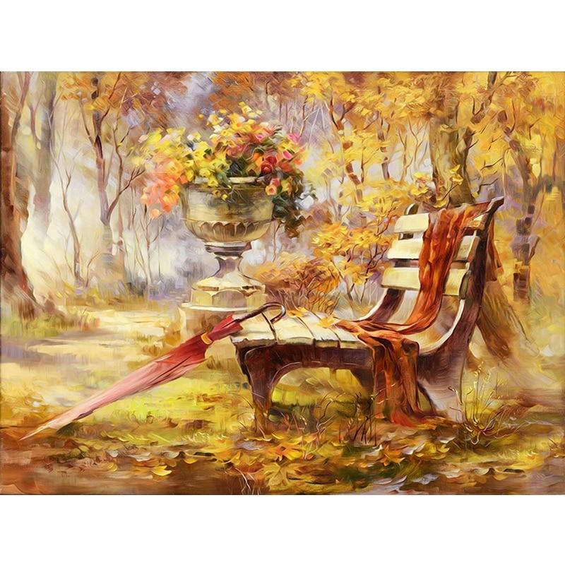 Taladro completo 5D DIY diamante pintura Parque otoño paisaje punto de cruz diamante bordado hojas doradas diamante mosaico pintura